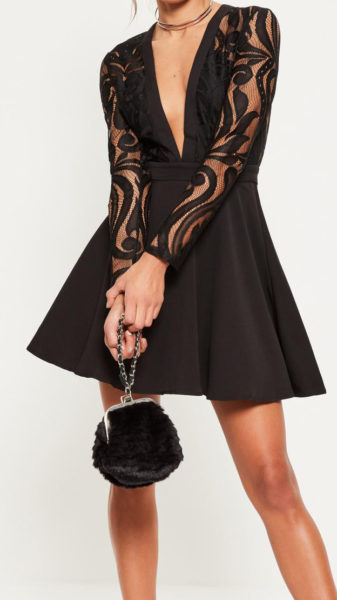 robe patineuse manches dentelle MissGuided